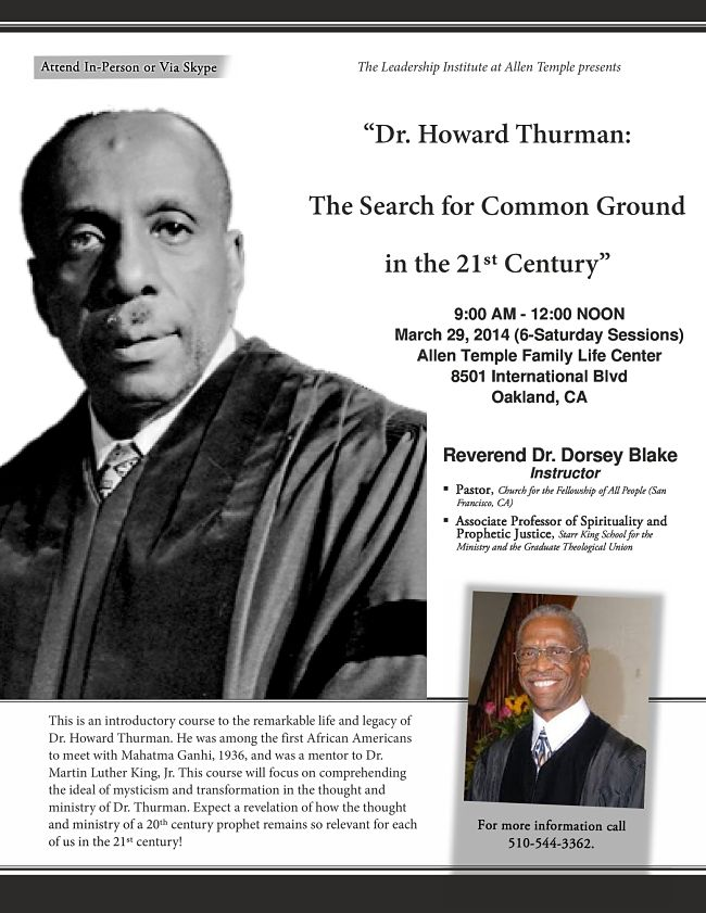 Howard Thurman Search for Common Ground Flyer
